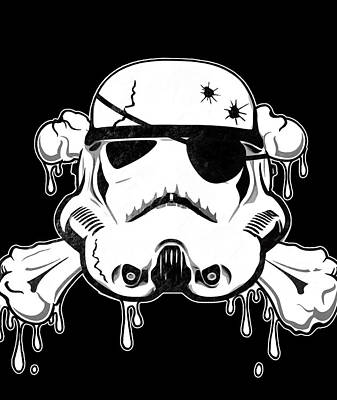 Skull Drawing - Pirate Trooper by Nicklas Gustafsson