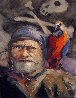 Pirate With Bird And Flag Original by R W Goetting