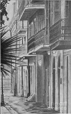 French Quarter. City Scene Drawing - Pirates Alley by Ralph Duncan