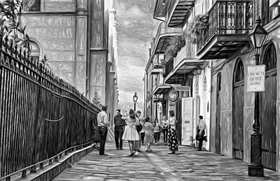 French Signs Digital Art - Pirate's Alley Wedding 2 Paint Bw by Steve Harrington