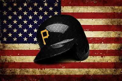 Mixed Media - Pirates Batting Helmet by Dan Haraga