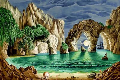 Albatross Digital Art - Pirates Cove by John Haldane