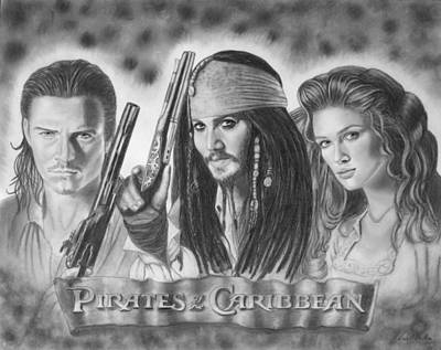 Orlando Bloom Drawing - Pirates Of The Caribbean by Nicole I Hamilton