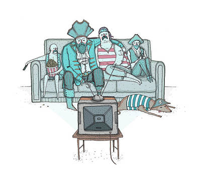 Pirates Sitting On Sofa And Watching Television Set  Art Print