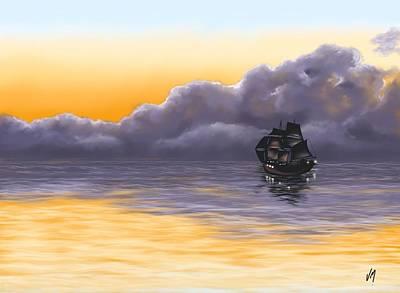 Seascape Digital Painting - Pirates  by Veronica Minozzi
