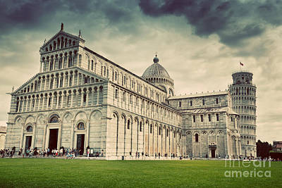 Photograph - Pisa Cathedral With The Leaning Tower Of Pisa, Tuscany, Italy. Vintage by Michal Bednarek