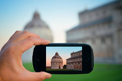 Photograph - Pisa Italy In Smart Phone by Songquan Deng
