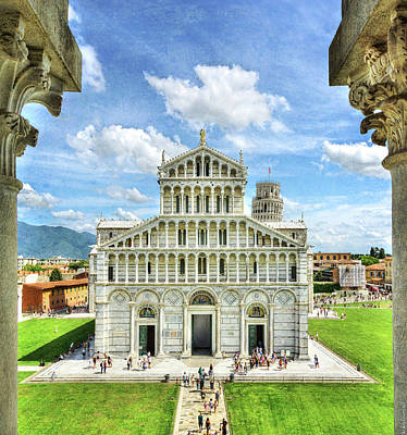 Photograph - Pisa - Leaning Tower Behind Duomo - Vintage Version by Weston Westmoreland