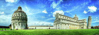Photograph - Pisa - Leaning Tower, Cathedral And Baptistry - Vintage Version by Weston Westmoreland