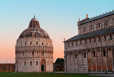 Photograph - Pisa Piazza Dei Miracoli Sunrise by Songquan Deng
