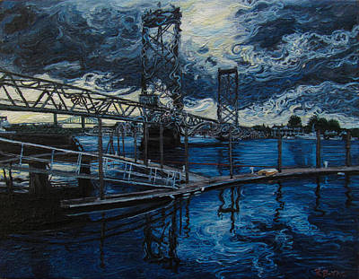 Maine Seacoast Painting - Piscataqua Bridges by Rob Barker