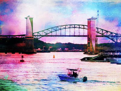 Photograph - Piscataqua River Bridge From Harborwalk Park, Portsmouth New Hampshire by Anita Pollak