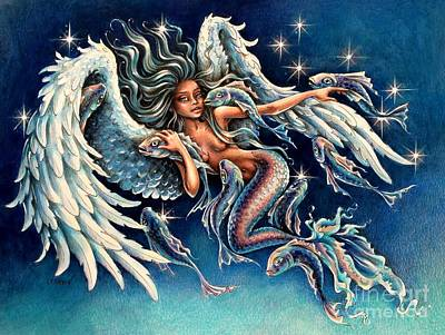 Angel Mermaids Ocean Painting - Pisces Angel by Christine Karron