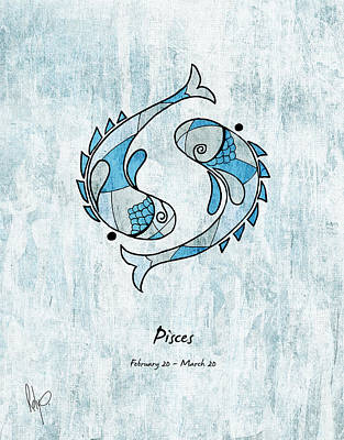 Pisces Drawing - Pisces Artwork by Roly Orihuela