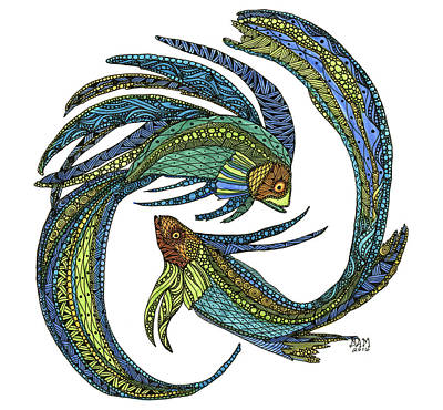 Drawing - Pisces by Barbara McConoughey