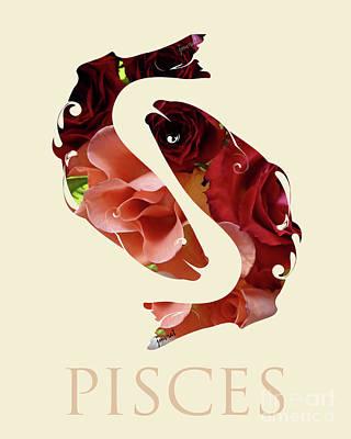 Pisces  Horoscope M10 Art Print by Johannes Murat