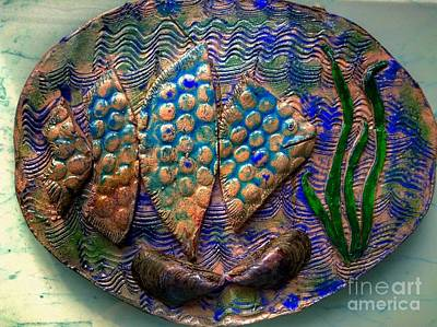 Ceramic Art - Pisces by Joan-Violet Stretch