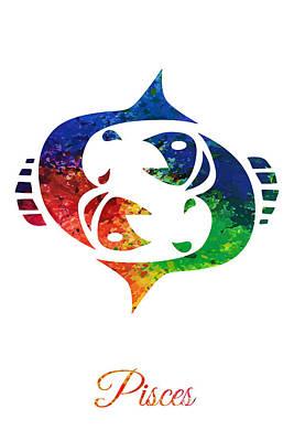 Digital Art - Pisces Zodiac Sign by PixBreak Art