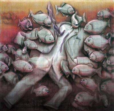 Piranha Painting - Piscis Corporatus by RP Browne
