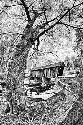 Photograph - Pisgah Covered Bridge In North Carolina Bw by Dan Carmichael