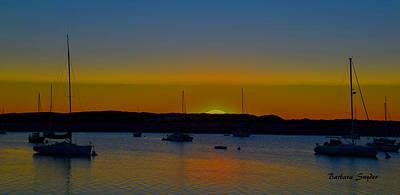 Morro Bay California Sunset Abstract Art Print by Barbara Snyder