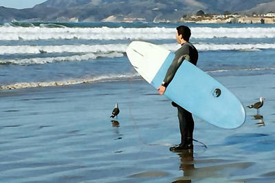 Pismo Beach Surfer Art Print by Art Block Collections