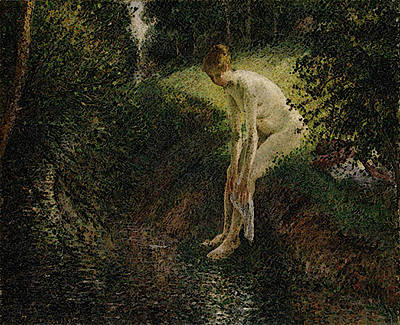 Pissarro Bather In The Woods  Art Print by Camille Pissarro