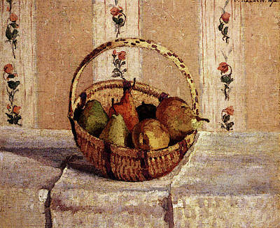 Pissarro Camille Still Life Apples And Pears In A Round Basket Art Print by Camille Pissarro