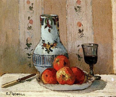 Pissarro Camille Still Life With Apples And Pitcher Art Print by Camille Pissarro