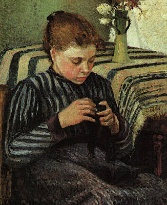 Pissarro Girl Sewing  Art Print by Camille Pissarro