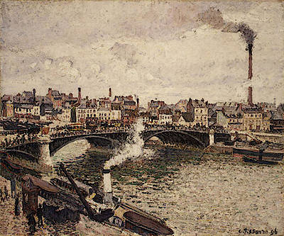 Pissarro Morning An Overcast Day Rouen  Art Print by Camille Pissarro