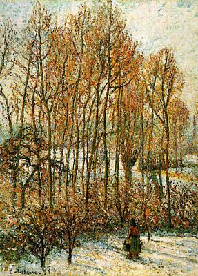 Pissarro Morning Sunlight On The Snow Eragny Sur Epte  Art Print by Camille Pissarro
