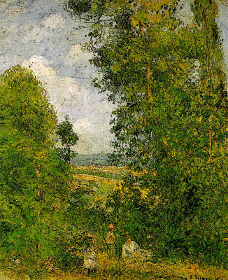 Pissarro Resting In The Woods At Pontoise  Art Print by Camille Pissarro