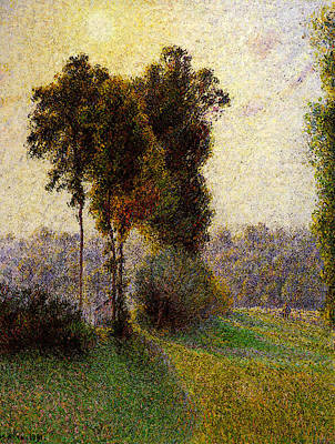 Pissarro Sunset At St Charles Eragny  Art Print by Camille Pissarro