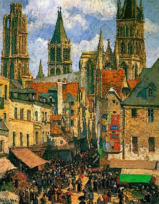 Pissarro The Old Market At Rouen  Art Print by Camille Pissarro