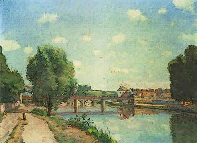 Pissarro The Railway Bridge At Pontoise Art Print by Camille Pissarro