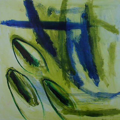 Abstract Painting - Pistachio Nut by Maggie Hernandez