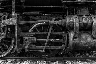 Photograph - Pistons And Connecting Rods Black And White by TL  Mair
