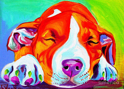 Pit Bull - Naptime Art Print by Alicia VanNoy Call