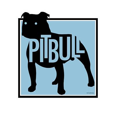 Digital Art - Pit Bull Blue by Geoff Strehlow