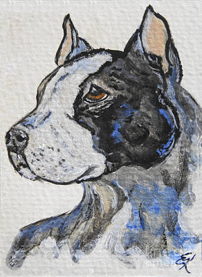 Painting - Pit Bull Dog by Ella Kaye Dickey