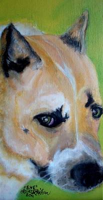 Painting - Pit Bull- Eve by Laura  Grisham