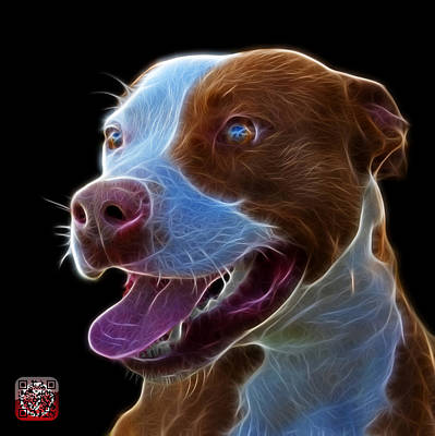 Art Print featuring the mixed media Pit Bull Fractal Pop Art - 7773 - F - Bb by James Ahn