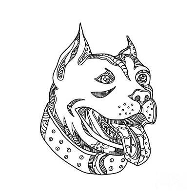 White Terrier Digital Art - Pit Bull Head Doodle Art by Aloysius Patrimonio