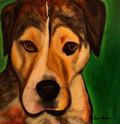 Painting - Pit Bull Mix - Buddy Ruff by Laura  Grisham