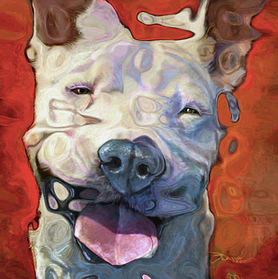 Mixed Media - Pit Bull Nixo by Nicholas Nixo