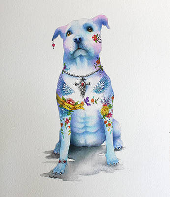 Mixed Media - Pit Bull Penny Tattoo Dog by Patricia Lintner