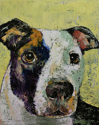 Pitbull Painting - Pit Bull Portrait by Michael Creese