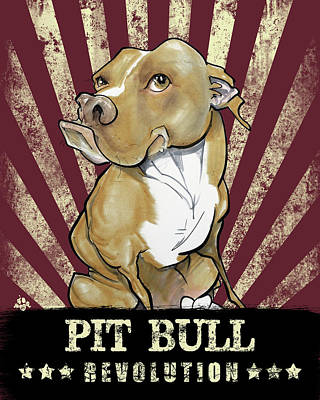 Pitbull Drawing - Pit Bull Revolution by John LaFree