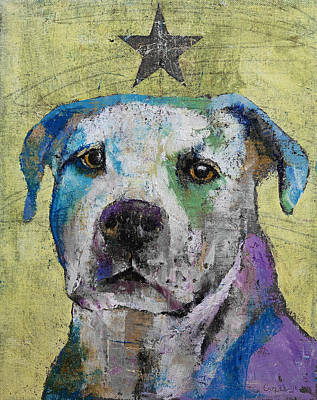 Pitbull Painting - Pit Bull Terrier by Michael Creese